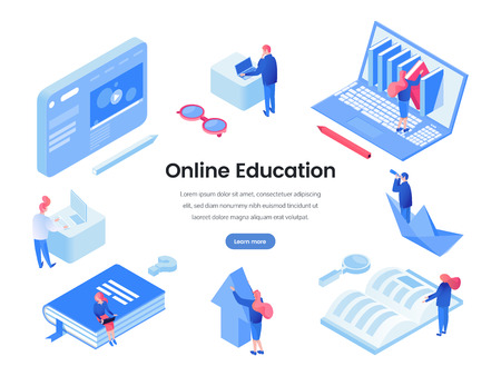 Online education landing page isometric template. E learning, distance education, online courses and classes website layout. Educational programs, software, virtual library webpage vector mockup