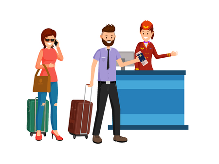 Abroad business trip flat vector illustration. Man and woman with suitcases at receptionist desk, airport departure lounge. Cartoon characters traveling, going on vacation holiday isolated clipart