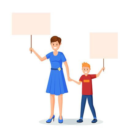 Madre con niños protestando ilustración vectorial. Mamá e hijo sosteniendo pancartas vacías en la reunión, demostración de carácter aislado. Protección de los derechos de los niños, elemento de diseño plano de jóvenes manifestantes