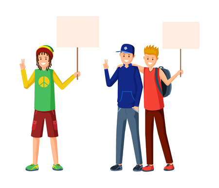 Youth social movement flat vector illustration. Teenagers protesting, protect human rights with empty placards mockup. Students meeting, youth subculture demonstration, school strike concept  イラスト・ベクター素材