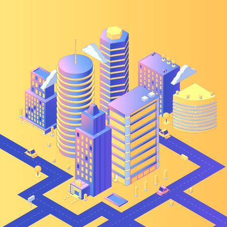 Futuristic city isometric vector illustration Illustration