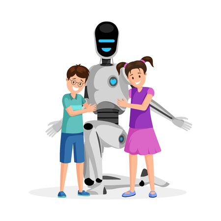 Robot with happy children flat vector illustration. Little boy and girl with artificial babysitter cartoon characters. Futuristic babysitting, childcare service innovation, family friendly technology Ilustracja