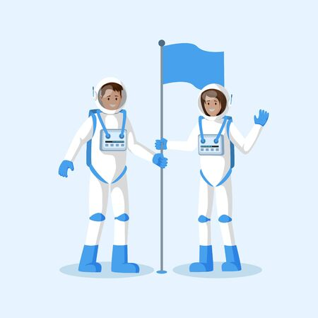 Astronauts planting flag flat vector illustration. Male and female smiling cosmonauts wearing spacesuits, waving hand cartoon characters. Another planet, moon landing isolated 写真素材 - 127643507