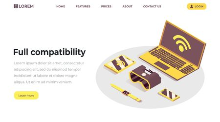 Internet of things landing page template. Full compatibility, responsive design, cloud computing service, wifi wireless connection, networking web banner.