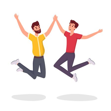 Two students jumping flat vector illustration. Excited, smiling young men, office workers, colleagues, brothers, gay couple cartoon characters. Friends celebrating success design element