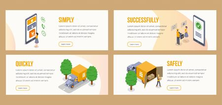 Delivery isometric landing pages vector template. Simply, quickly, shipping, safely, successfully delivery parcel to door website, webpage steps. Customer and courier 3d illustrations concept Иллюстрация