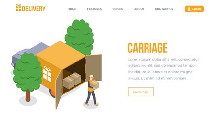 Carriage isometric landing page vector template. Courier service, goods shipping, transportation website. Delivery man, loader with box, worker unloading truck 3d concept