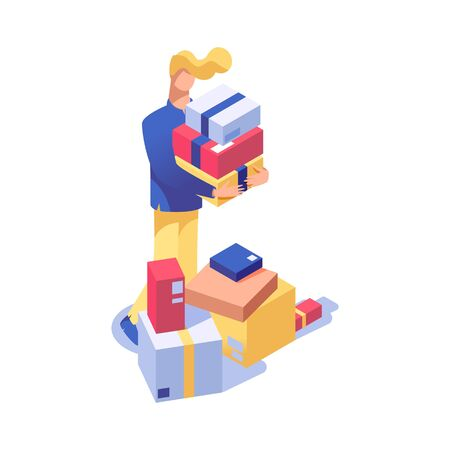Man on shopping vector isometric illustration. Warehouse, storehouse worker doing inventory, customer buying holiday presents 3d character. Shop assistant offering goods isolated clipart