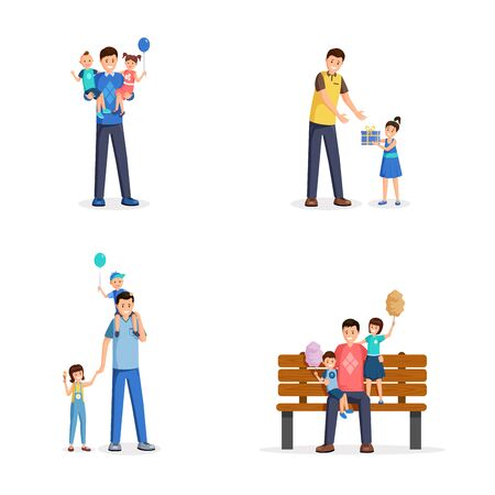 Father day flat vector illustrations set. Young men, single dads spend time with little children, sons and daughters cartoon characters. Parents and kids celebrate family holiday, happy fatherhood