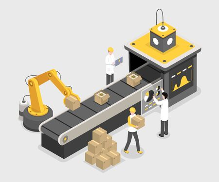 Autonomous packaging process, final assembly stage. Robotic technology stacking boxes with produced merchandise isometric vector illustration. Experts monitoring process, assuring quality 3d concept