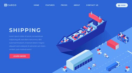Commercial conveyance landing page vector template. Shipyard, harbor website homepage interface idea with isometric illustrations. Goods shipping business web banner, webpage cartoon concept