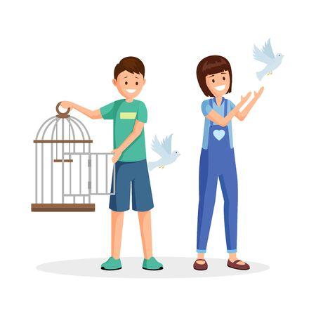 Activists setting birds free flat vector illustration. Cartoon kids, teenagers with open birdcage liberating pigeons. Animal rights activists, volunteers fighting for wild species natural habitat