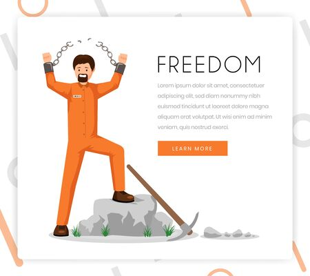 Freedom fighter vector landing page template. Liberated prisoner, convict in uniform with broken shackles with victorious gesture flat character. Human rights organization homepage design layout