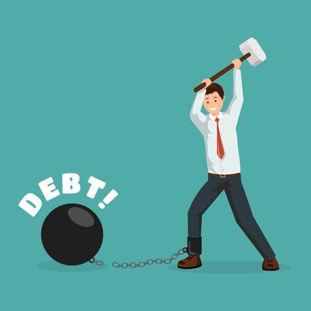 Pago de plantilla de cartel de vector de metáfora de deuda. Hombre de dibujos animados rompiendo cadenas financieras con un martillo. Deudor feliz, empresario pagando deudas, impuestos, préstamos bancarios carácter plano