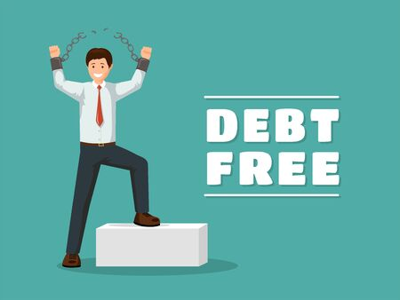 Debt free flat vector poster template. Cheerful man with broken chains celebrating financial independence with victorious gesture. Cartoon debtor happy after paying off debts, bank loans
