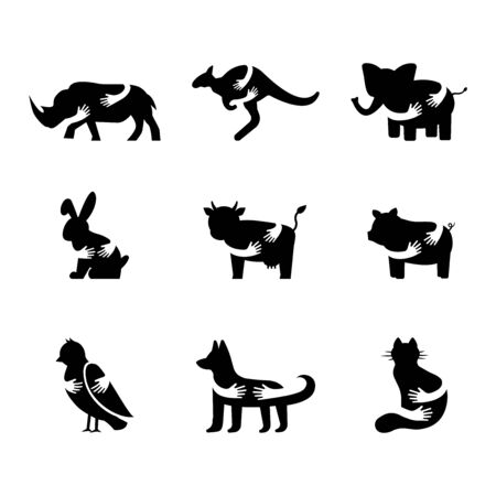 Various animals negative space icons set. African fauna, farm livestock and domestic animals silhouette symbols. Rhinoceros, elephant, rabbit, cow and bird hugged by arms vector isolated illustration