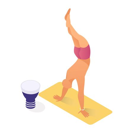 Person doing yoga, workout on seashore. Healthy lifestyle, keeping fit, in shape, working out outdoors isometric vector illustration. Street performer, acrobat, public entertainment Illustration