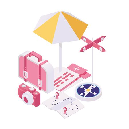 Getting ready for voyage isometric illustration. Packing bags for tourist adventure, summertime holiday trip 3d concept. Planning travel to summer weekend rest location, vacation resort