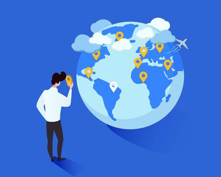 Global travelling metaphor vector isometric illustration. Cartoon man placing geotags on globe cartoon character. Tourist planning future foreign trips destinations, traveler marking journeys wishlist