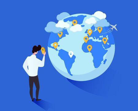 Illustration isométrique de vecteur de métaphore de voyage mondial. Homme de dessin animé plaçant des géotags sur le personnage de dessin animé de globe. Planification touristique de futures destinations de voyages à l'étranger, liste de souhaits de voyages de marquage de voyageur Vecteurs