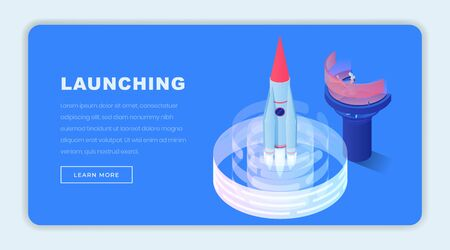 Launching business isometric landing page template. Navigation operator, engineer sending 3d rocket to space. Starting new business, startups, applying innovations consultancy website design layout