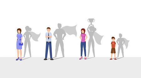 Best leaders flat vector illustration. Happy people with superhero shadow, cheerful man, women and kid cartoon characters. Ambitious, strong, courageous people, superheroes with cape