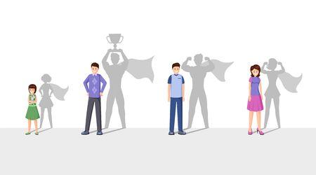 Illustrazione di vettore piatto di campioni. Persone sorridenti con ombra di supereroi, uomini allegri, personaggi dei cartoni animati di donne e bambini. Supereroi con mantello che celebrano la vittoria, il raggiungimento personale