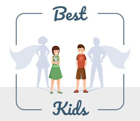 Best kids flat vector illustration. Excellent children, smiling son and daughter with superhero shadow cartoon characters in frame. Ambitious, successful and confident teenagers social media post Иллюстрация