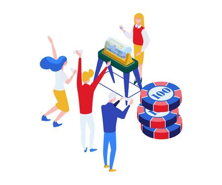Lottery players and host isometric illustration. Gamers holding lottery tickets, happy lucky jackpot winners faceless color characters. Balls rotation machine, lotto drum, bingo 3D isolated clipart