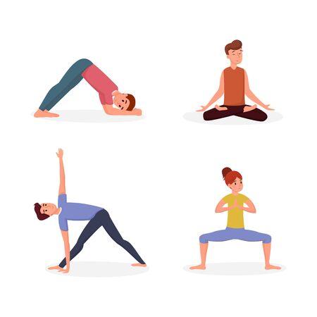 Yoga lesson flat vector illustration set. People doing yoga asanas men and woman exercising, relaxing cartoon characters. Gymnastics, sports training, meditation isolated on white background