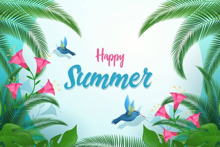 Exotic summer flat vector banner template. Happy summer calligraphy with decorative palm tree leaves, tropical foliage and birds. Tiny hummingbirds sipping flowers nectar postcard design layout