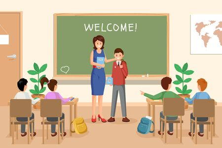 Welcoming new schoolboy vector illustration. Female teacher presents newbie to groupmates cartoon characters. Schoolmates sitting at desks, listening to teacher and pupil, student