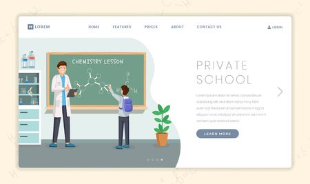 Private educational institution landing page template. Chemistry teacher and pupil at chalkboard teaching molecules structure. Special profile school advertising webpage design layout