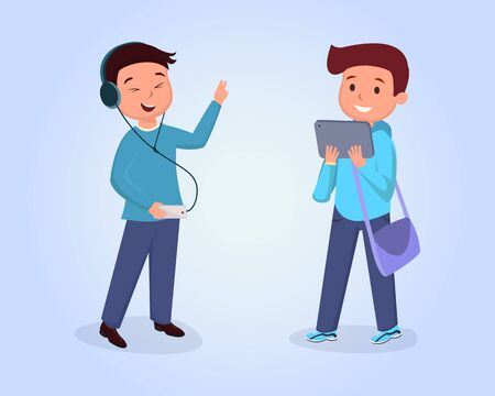 Teen friends meeting flat vector illustration. Schoolboy wearing headphones, listening music, schoolkid with bag using tablet cartoon characters set. Classmates isolated clipart on blue background