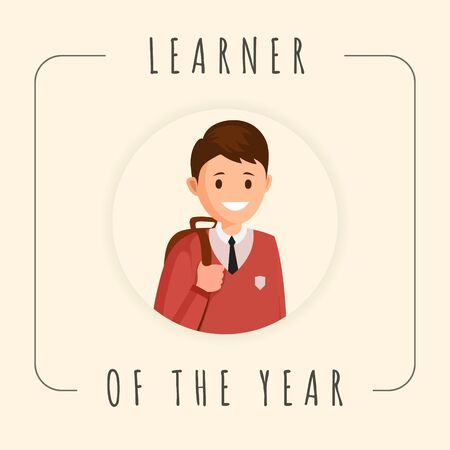 Learner of year vector banner template. Cartoon smiling pupil, schoolboy photograph in frame. Best student photo social media post, kids achievements, results recognition poster design layout Illusztráció