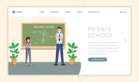 Private school vector landing page template. Cartoon biology teacher explaining plant structure to schoolgirl. Prestigious educational institution, elite college website page design layout