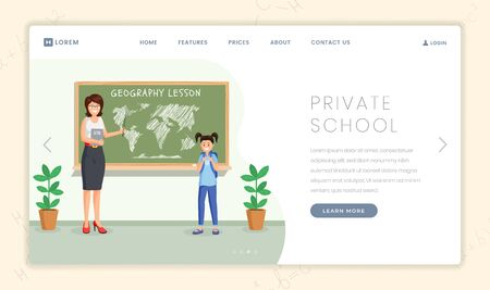 Private school lesson landing page template. Geography teacher explains continents location to cute schoolgirl cartoon characters. Elite school with child centered approach promo webpage design layout Illustration