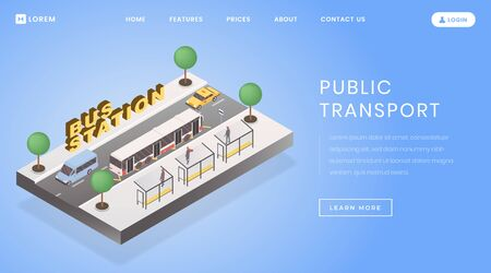 Bus stop, station landing page vector template. Public transportation website homepage interface idea with flat vector illustrations. Interurban tours service web banner, webpage cartoon concept