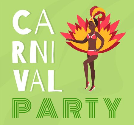 Brazilian carnival party banner vector template. Young latina female dancer in beautiful authentic costume cartoon character. National south american festival, Rio de Janeiro culture poster layout Çizim