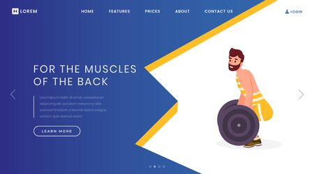 Back muscles exercises landing page template. Sport center, bodybuilding website homepage interface idea with flat vector illustrations. Powerlifting contest web banner, webpage cartoon concept Illusztráció