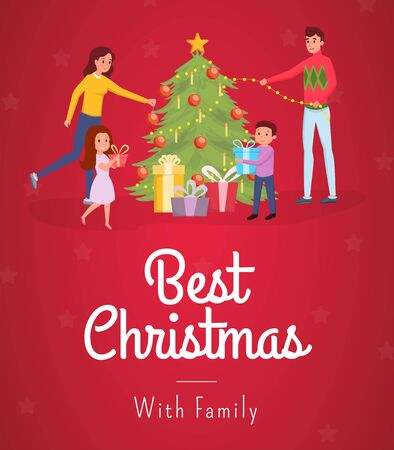 Best christmas flat banner vector template. Cheerful parents with kids, family decorating fir tree cartoon characters. Happy new year, xmas holiday traditional postcard concept with lettering