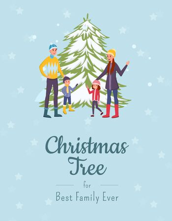 Christmas tree flat banner vector template. Smiling parents and kids, family in warm clothes cartoon characters. Traditional winter holiday, happy new year festive postcard layout with calligraphy Illusztráció