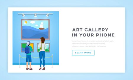 Artwork collection in phone landing page. Young mother and teenager son looking at beautiful seascapes, landscapes in museum. Classic art digital showroom website page design layout