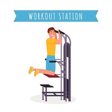 Guy using workout station flat vector illustration. Young athlete in sportswear, fitness trainer working out with apparatus cartoon character. Arm muscles training machine, healthy lifestyle banner Illusztráció