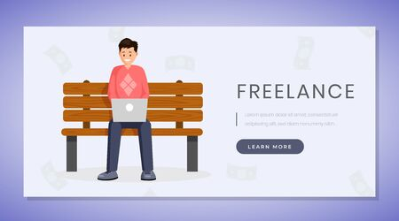 Freelance job landing page vector template. Remote work, distance job website, webpage concept blue design with flat illustration. Designer, programmer works on park bench color cartoon character Иллюстрация