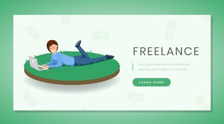 Freelance flat landing page vector template. Remote job, distance work website, webpage green design concept with buttons. Freelancer woman working with laptop on grass color cartoon character Иллюстрация