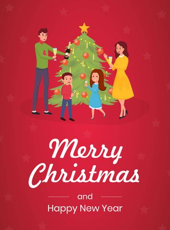 Merry christmas greeting card vector template. Happy family, parents and little children celebrating together cartoon characters. Winter holiday, xmas flat banner concept with calligraphy