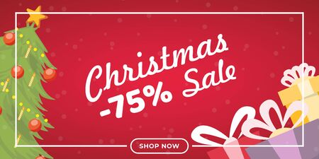Christmas sale flat banner vector template. Traditional shopping event landing page concept, winter holiday wholesale advertising poster layout. Fir tree and presents illustration with lettering
