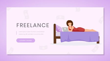 Working from home landing page template. Distance job, freelance remote work website homepage design purple layout. Young woman freelancer, outsource worker using laptop on bed color cartoon character