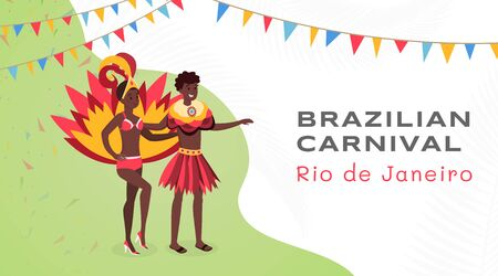 Brazilian carnival flat banner vector template. Happy latino man and woman in beautiful authentic costumes cartoon characters. National south american celebration, Rio de Janeiro holiday poster layout
